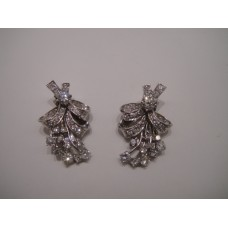 Platinum Art Deco Diamond Flower Earrings