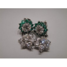 Platinum Art Deco Diamond and Emerald Earrings