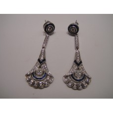 Platinum Art Deco Diamond and Sapphire Drop Earrings
