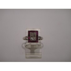 Platinum Art Deco Diamond and Ruby Engagement Ring