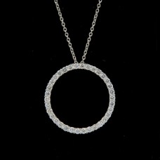 18kt Circle Diamond Necklace