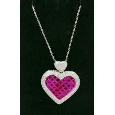 Diamond Ruby Heart Necklace