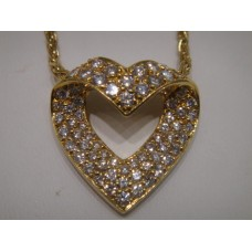 Vintage 18kt Diamond Heart Necklace