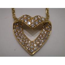 Vintage 18kt Diamond Heart Necklace