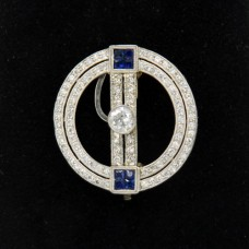 Platinum Art Deco Sapphire Diamond Pin