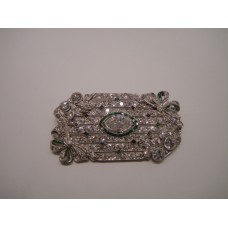 Platinum Art Deco Diamond and Emerald Pin