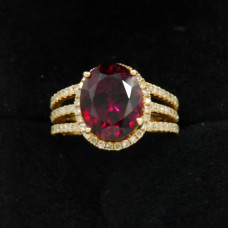 18kt Vintage Rubellite Diamond Ring