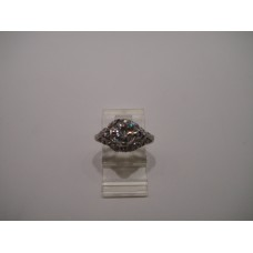 Platinum Art Deco Diamond Sapphire Ring
