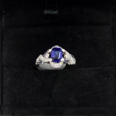 Platinum Art Deco Sapphire and Diamond Ring