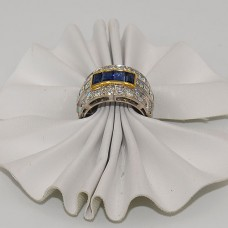 Platinum Art Deco Diamond Sapphire Band
