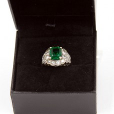 White Gold Emerald Diamond Ring